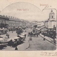 BUCURESTI, STRADA CAROL I, TRAMVAI ELECTRIC, TRASURA, CLASICA, CIRC. 1906 - Carte Postala Muntenia pana la 1904, Circulata, Printata