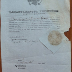 Departamentul Visteriei Tarii Romanesti, semnat de Marele Vistier, 1847 - Hartie cu Antet