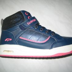 Pantofi sport fetite WINK;cod HE6377-1;marime:31-35 - Ghete copii Wink, Marime: 32, 34, Culoare: Albastru, Fete, Piele sintetica