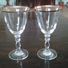 Pahare sampanie din cristal aurit - Arta din Sticla