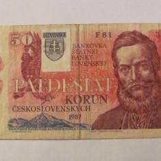 CY - 50 korun coroane 1993 (1987) Slovacia / cu timbru