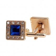 Butoni aurii cristale piatra albastra metalici  + cutie simpla cadou