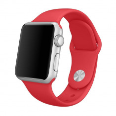 Smartwatch Apple Sport Watch 38 MM Carcasa Aluminiu Argintiu Si Curea Sport Rosie