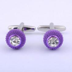 Butoni unisex mov metalici cristal alb + cutie simpla cadou