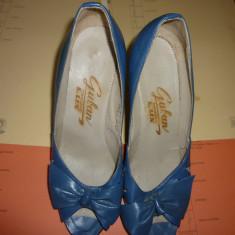 Pantofi cu toc Guban - Pantof dama Guban, Culoare: Bleu, Marime: 25 1/3, Piele naturala