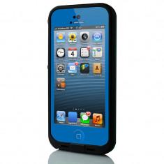 Toc subacvatic albastru waterproof cu prelungitor casti iPhone 5 - Husa Telefon, iPhone 5/5S/SE, Negru, Plastic
