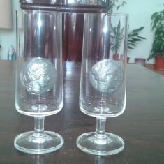 Pahare de cristal cu blazon metalic marcat - Arta din Sticla