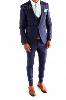 Costum tip ZARA - sacou + vesta + pantaloni costum barbati casual office  - 6982 foto
