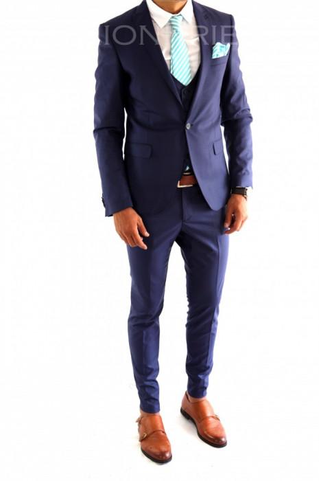 Costum tip ZARA - sacou + vesta + pantaloni costum barbati casual office  - 6982 foto mare