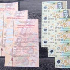 3 coli netaiate x 500.000 500000 lei 2000 coala BNR certificat autenticitate UNC - Bancnota romaneasca