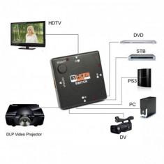 Splitter / switch 3 porturi HDMI 3in1 box: 3x HDMI input - 1x HDMI output