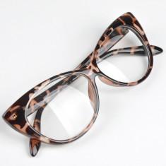 Ochelari de dama Cat Eyes lentila transparenta fara dioptrii model ANIMAL PRINT, Femei, Ochi de pisica, Plastic