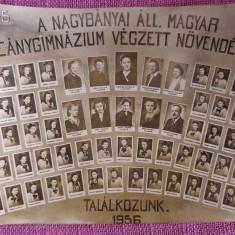 Fotografie veche 1946, cu promotia liceului maghiar in Baia Mare, 1945-1946