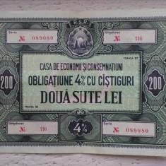 Obligatiune CEC 200 lei - Cambie si Cec
