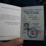 Carnet de membru Consiliul central al sindicatelor din Romania / RSR -anii 50-60 - Pasaport/Document