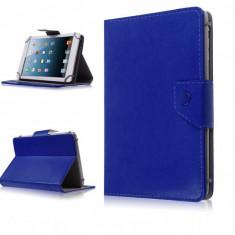 Husa Tableta 7 Inch Model X, Albastru, Tip Mapa, Prindere 4 Cleme C107, Universal