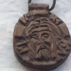 Medalion Chipul lui Isus Hristos sculptat in lemn Impunator Unicat Rar