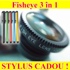 Obiectiv Smartphone Clip on 3 in 1 Macro - Fisheye - Wide Angle - Poze reale