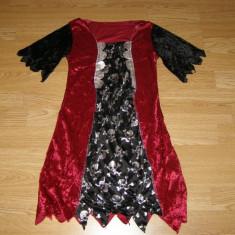 Costum carnaval serbare vrajitoare pentru copii de 6-7 ani - Costum Halloween, Marime: Masura unica, Culoare: Din imagine
