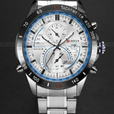 CEAS BARBATESC CURREN JAPAN SILVER TACHYMETER-MODEL 2016-GEAM ZAFIR-POZE REALE, Casual, Quartz, Inox, Data