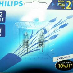 Set 2 becuri cu halogen de 10W, 12V dulie G4 - Philips - NOI