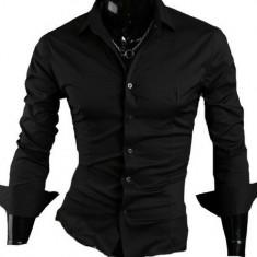 Camasa neagra - camasa barbati - camasa slim fit - camasa fashion, Marime: S, M, L, XL, Culoare: Din imagine, Maneca lunga