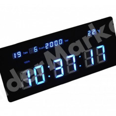 Ceas de camera cu temperatura si data, iluminat 35 x 14.5cm TL3514 - Ceas de perete