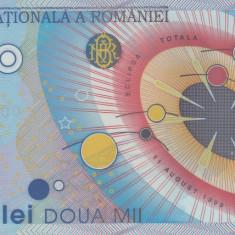 Bancnota Romania 2.000 Lei 1999 - P111 UNC ( polimer - eclipsa ) - Bancnota romaneasca