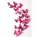 Fluturi 3D magnet, decoratiuni casa sau evenimente, 12 bucati, rosu trandafiriu