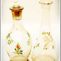 LOT 2 STICLE ROMÂNEȘTI PENTRU BĂUTURĂ, PICTATE MANUAL CU FLORI, VECHI - 1970! - Sticla
