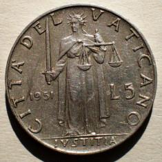 1.506 VATICAN PAPA PIUS XII JUSTITIA 5 LIRE 1951, Europa, Aluminiu