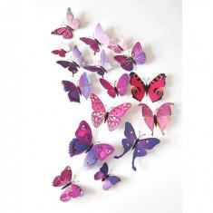 Fluturi 3D cu magnet, decoratiuni casa sau evenimente, set 12 bucati, mov - Magnet frigider