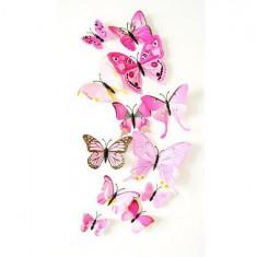 Fluturi 3D cu magnet, decoratiuni casa sau evenimente, set 12 bucati, roz