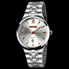 Ceas elegant marca SKMEI cadran crem - Ceas barbatesc, Quartz, Inox, Data