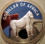 D.414 UGANDA SERIA GORILE AFRICA 1000 SHILLINGS 2003 PROOF ARGINTATA 38,5mm
