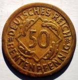 C.252 GERMANIA WEIMAR 50 RENTENPFENNIG 1924 D RARA, Europa, Bronz-Aluminiu