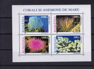 ROMANIA 2001  LP 1570 a   CORALI SI ANEMONE DE MARE BLOC DE 4 MARCI  MNH