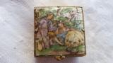 Cutiuta veche de medicamente pentru poseta Vintage pictata si executata manual, Alama