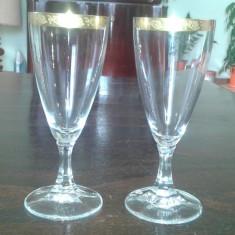 Pahare de Cristal pentru sampanie placate cu aur