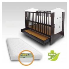 Patut copii cu sertar Bruni si Saltea Clasic 120 x 60 cm First Smile - Patut lemn pentru bebelusi First Smile, Negru