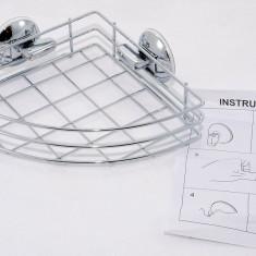Raft de colt din inox pentru baie - fixare cu ventuze - NOU