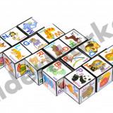 Set 15 cuburi educative cu litere cifre simboluri si imagini - Jocuri Logica si inteligenta