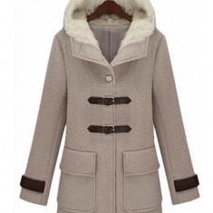 BL622-14 Palton elegant cu guler inalt, imblanit, accesorizat cu catarame in fata - Palton dama, Marime: M