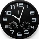 Ceas de perete cu termometru si higrometru – NEGRU – NOU