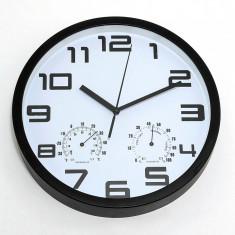 Ceas de perete cu termometru si higrometru – ALB – NOU