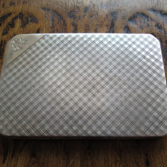 1948 Tabachera veche de argint masiv, monograma gravata manual