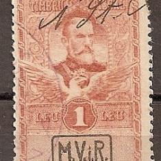 SD Romania 1917-Posta mil.germ.-Timbre fisc.cu supr. MViR caseta-11d- 1 leu brun - Timbre Romania, Stampilat