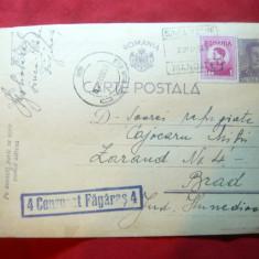 Carte Postala 10 lei Mihai - marca fixa, cenzurata, circ.cu stamp.Sinca Veche - Carte Postala Transilvania dupa 1918, Circulata, Printata