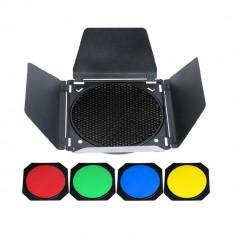 Barndoor Aputure BD-4L cu honeycomb si 4 filtre colorate pt blitz de studio si reflectoare