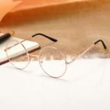 Ochelari rotunzi rama aurie lentila transparenta  unisex model retro cu husa